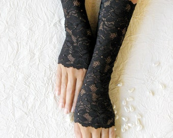 Fingerless gloves lace black,,prom  FREE SHIPPING