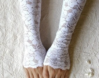 Bridal gloves, white lace gloves, wedding gloves, long lace gloves FREE SHIPPING