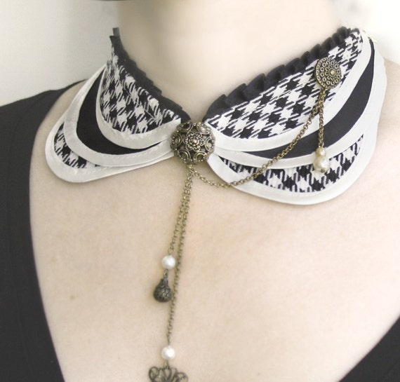 Diana  tailored layered collar   dogtooth check ivory& black fabric and soft cream satin ruffled black satin