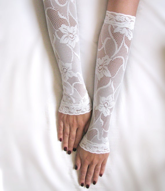 lena off white lace gloves bridal long mittens fingerless