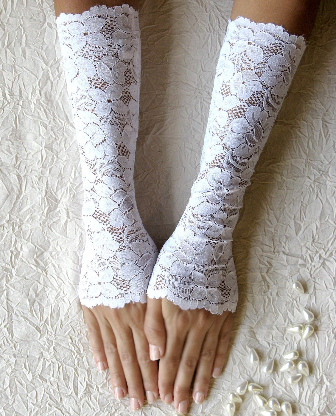Bridal Gloves White Lace Gloves Wedding Gloves Long Lace