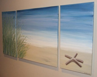 "Starfish Beach Sand Dune Blue Seascape Canvas Painting ""ARTSOLUTELY"""