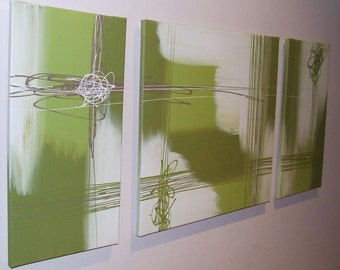 Lime Olive Green White Chocolate - Original Canvas Painting by Stephanie