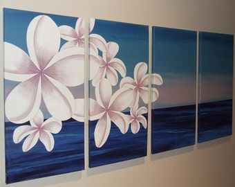 "Blue Ocean Dusk Pink Frangipani Painting by ""ARTSOLUTELY"""