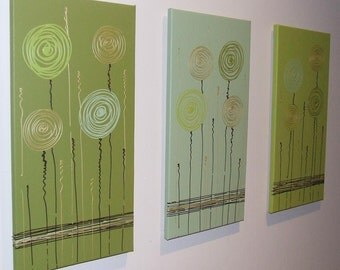 Lime Olive Sage Green Chocolate Gold - Original Abstract Canvas Painting by Stephanie
