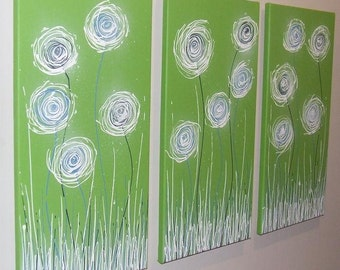 Lime Green Blue White - Original Abstract Painting by Stephanie