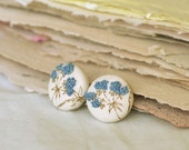 SALE - Blue blossom hand embroidery fabric covered button earrings HERBARIUM SERIES (19 mm)