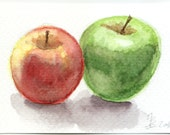 ACEO two apples watercolor original