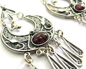 925 Sterling Silver, Filigree, Ethnic, Hoop, Chandelier Earrings Decorated With Garnet Gemstones - ID1014
