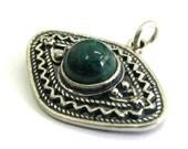 925 Sterling Silver Filigree Eye Pendant Decorated With Eilat (Chrysocolla) Gemstone - ID2028
