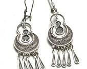 Ethnic Earrings, 925 Sterling Silver, Filigree, Artisan, Chandelier Woman Earrings - ID1029