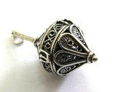 Sterling Silver Dreidel Pendant, Filigree, Hanukkah Gift, Jewish Jewelry, Artisan Judaica, Hanukkah Game, Deidels - Free Shipping ID937