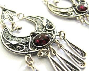 Earrings, 925 Sterling Silver, Filigree Ethnic, Chandelier Earrings, Garnet Gemstones, Red Stone, Women Earrings, Holiday Gift - ID1014
