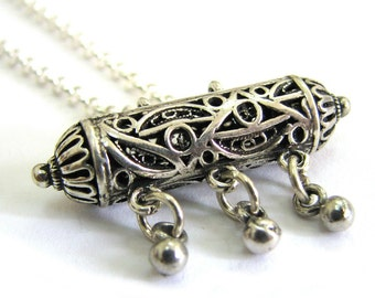 925 Sterling Silver Artisan Filigree Chandelier Amulet Case Necklace - ID2030