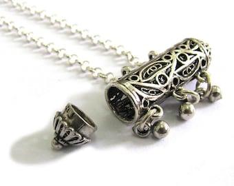 Amulet Case Necklace, 925 Sterling Silver, Artisan, Filigree, Chandelier Amulet Case Pendant - ID2030