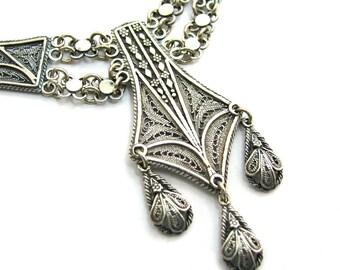 Ethnic Chandelier Necklace, Filigree, 925 Sterling Silver, Women Jewlery - ID217