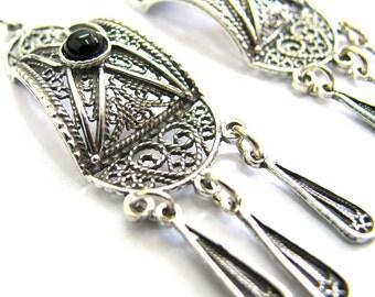 Earrings, 925 Sterling Silver, Filigree, Ethnic, Chandelier Earrings, Onyx Gemstones, Black Stone, Holiday Gift, Women Earrings - ID1070