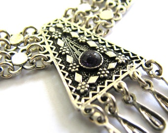Sterling silver Ethnic Necklace, Filigree, Chandelier,Decorated With Onyx Gemstones, Women Jewelry, Holidays Gift, Yemenite Style - ID234