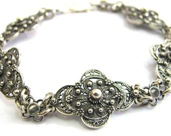 925 Sterling Silver Filigree Ethnic Bracelet - ID267