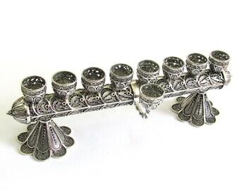Hanukkah Menorah & Candlesticks, Sterling Silver 2 in 1 Handmade Filigree Judaica, Wedding Gift, Holiday Gift - Free Express Shipping ID915