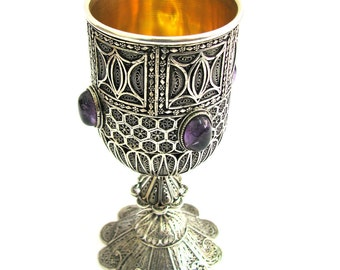 Exclusive Wine Goblet, Amethyst Gemstones, 925 Sterling silver, Yemenite Filigree, Jewish Wedding Gift - Free Express Shipping - ID1753