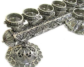 2 in 1 Hanukkah Menorah & Candlesticks, 925 Sterling Silver, Filigree, Judaica, Hanukkah Gift, Wedding Gift - Free Express Shipping - ID913