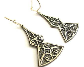 Ethnic Earrings, 925 Sterling Silver, Filigree, Women Jewelry - ID1112