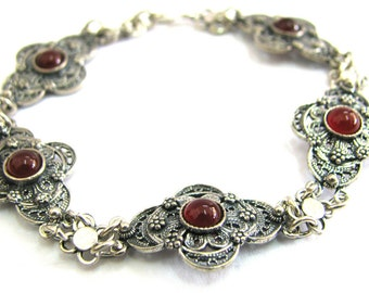 Ethnic Bracelet, 925 Sterling Silver, Filigree, Decorated With Garnet Gemstones, Woman Jewelry - ID291