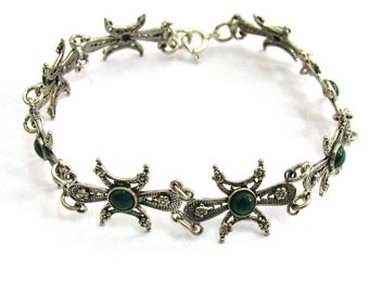 Filigree Bracelet Decorated With Eilat (Chrysocolla) Gemstones 925 Sterling Silver- ID287