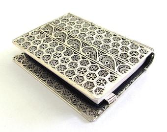"Psalms (Tehilim) Book Binder, 2.5"" X 2.2"", 925 Sterling Silver, Yemenite Filigree, Bar Mitzva Gift, Judaica - Free Shipping ID863"