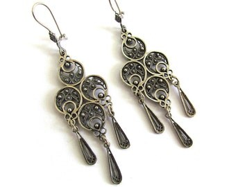 925 Sterling Silver Filigree Ethnic Chandelier Earrings - ID92