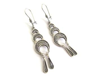 Ethnic Earrings, 925 Sterling Silver, Filigree, Women Jewelry  - ID1119