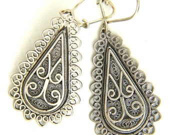 Ethnic Earrings, 925 Sterling Silver, Filigree  - ID1106