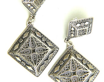 Ethnic Earrings, 925 Sterling Silver, Filigree Stud Earrings, Woman Jewelry - ID1109