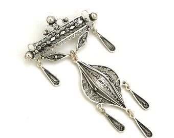 Chandelier Brooch / Pin, 925 Sterling Silver, Filigree Artisan Handmade Women Jewelry Gift - ID128