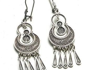 Ethnic Earrings, 925 Sterling Silver, Filigree, Artisan, Chandelier Woman Earrings, Holiday Gift - ID1029