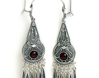 925 Sterling Silver Filigree Ethnic Chandelier Earrings Decorated With Garnet Gemstones - ID1050