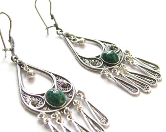 925 Sterling Silver Filigree Ethnic Chandelier Drop Earrings With Eilat Gemstones - Free Shipping ID1018a