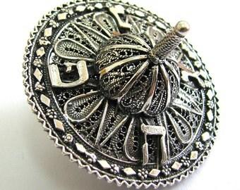 Hanukkah Dreidel, 925 Sterling Silver, Filigree, Hanukkah Gift, Artisan Judaica, Hanukkah Game, Jewish Game - Free Shipping - ID931