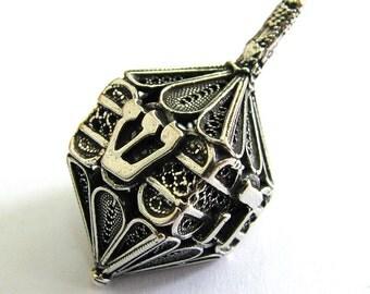 925 Sterling Silver Filigree Dreidel Hanukkah Game Collectors Item - Judaica - Free Shipping ID932