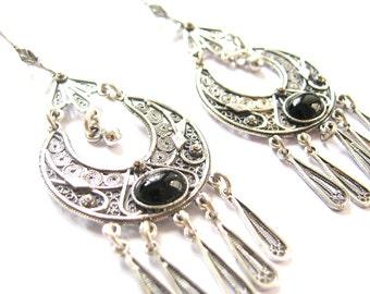 Ethnic Earrings, Filigree, Chandelier Earrings, 925 Sterling Silver Handmade, Women Jewelry, Decorated With Onyx Gemstones - ID1014
