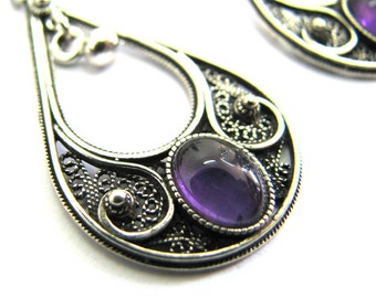 Drop Earrings, Ethnic, Yemenite, 925 Sterling Silver, Filigree, Decorated With Amethyst Gemstones, Artisan Woman Jewelry Holiday Gift ID1015