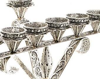 Menorah Hanukkah Sale 20% Off -  925 Sterling Silver, Filigree, Hanukkah Menorah, Artisan, Holiday Gift, Judaica Free Express Shipping ID912