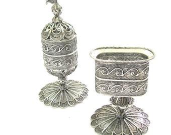 Havdalah Set, Candle Holder & Besamim Perfume Box, 925 Sterling Silver Filigree, Judaica Holiday Gift - Free Express Shipping ID654-616