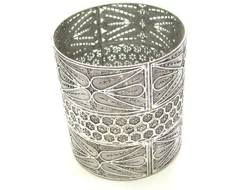 Yahrzeit Candle Holder, 925 Sterling Silver, Filigree, Artisan Judaica  - Free Shipping ID1709