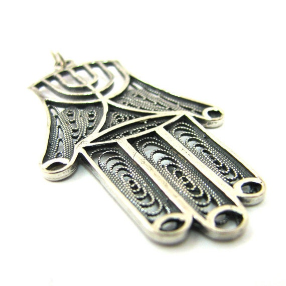 Hamsa Pendant Decorated With Menorah, 925 Sterling Silver, Filigree, Judaica, For Him, For Here - ID2022