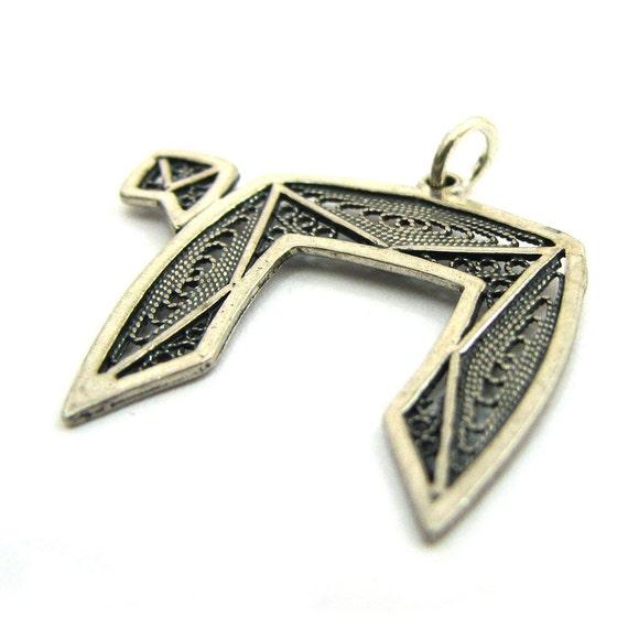925 Sterling Silver Filigree Chai Pendant Judaica - ID2014