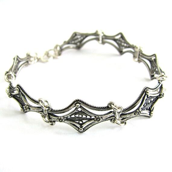 Ethnic Bracelet, 925 Sterling Silver, Filigree - ID281