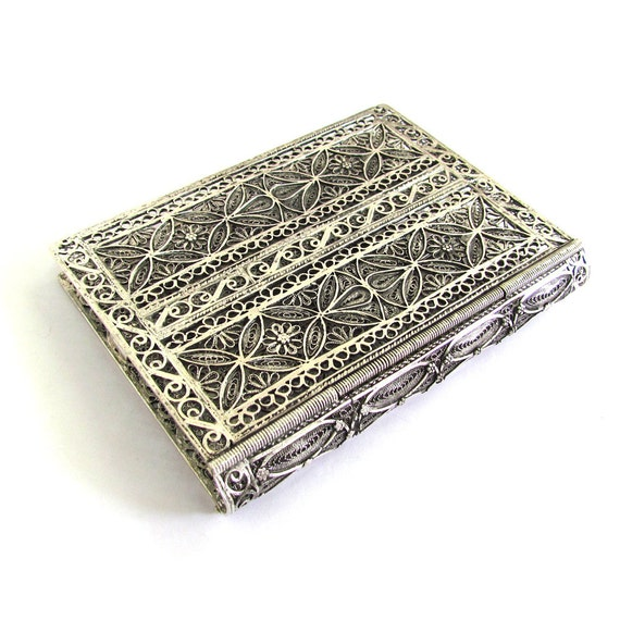 "925 Sterling Silver Filigree Psalms (Tehilim) Or Torah Book Binder 4.2"" X 2.9"" Judaica - Free Shipping ID864"