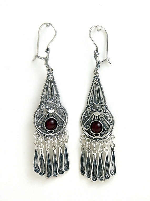 925 Sterling Silver Filigree Ethnic Chandelier Earrings